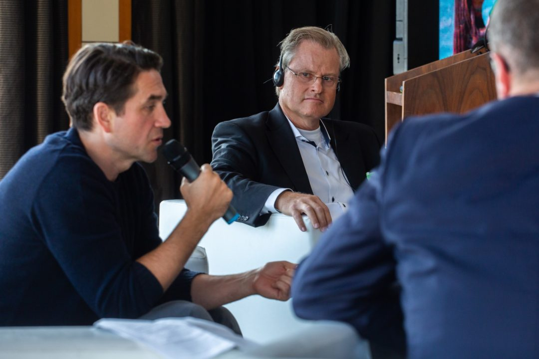Konferencja w Sopocie 16.10.2019 marki Frosch. Na zdjęciu CEO Werner & Mertz Reinhard Schneider, aktor Marcin Dorociński i dziennikarz Marcin Meller